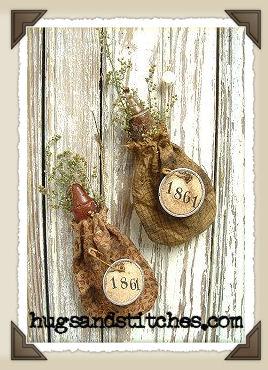 1008 1861 candle bag ornament - Primitive Christmas Ornaments