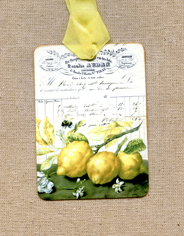 Hang Tags  FRENCH JOURNAL LEMONS ON A BRANCH TAGS or MAGNET #464  Gift Tags