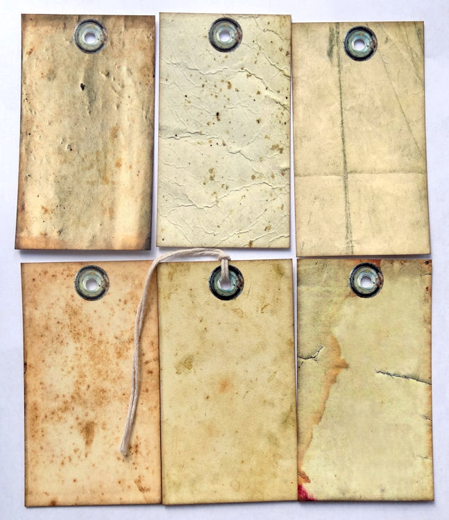 Hang Tags  PRIMITIVE GRUNGY OLD PAPER MIXED TAGS #T 38  Gift Tags